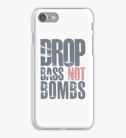 Drop Bass Not Bombs (cream pink)  iPhone Case/Skin