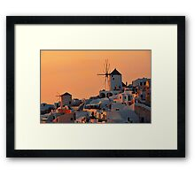 The Windmills of Oia Framed Print