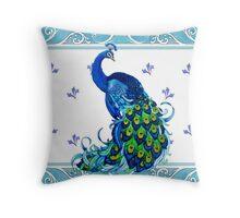 Blue Peacock Swirls Throw Pillow