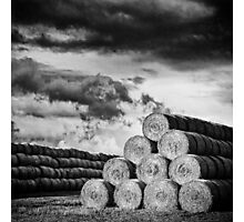 Army of Straw Bales_Black & White Photographic Print
