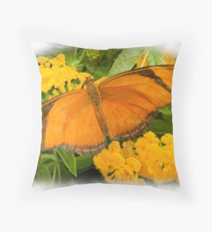 Orange Julia Butterfly Throw Pillow