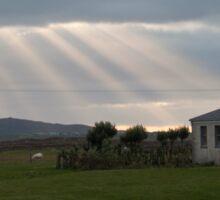 Crepuscular rays - Tiree, Scotland Sticker