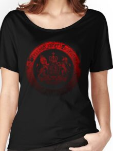 On her Majesty's secret service logo  - RED/BLACK Women's Relaxed Fit T-Shirt