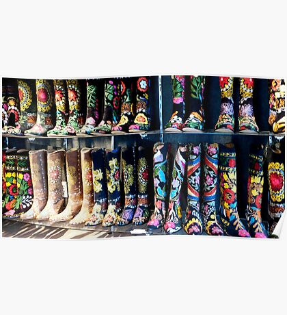 Embroidered Cow Girl Boots Poster