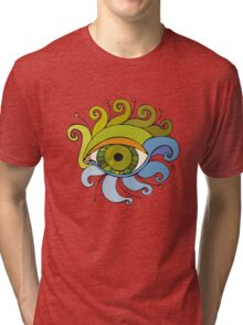 Eyes with eyelashes in the form of tentacles Tri-blend T-Shirt