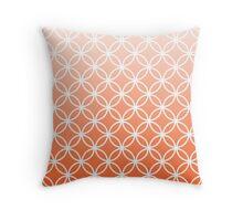 Coral Ombre Lattice Circles Throw Pillow