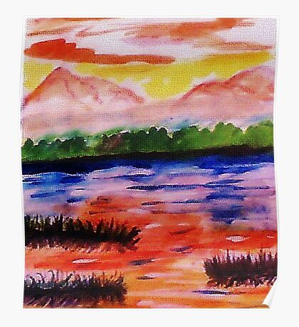 The other side of the Rio Grande, watercolor Poster