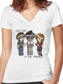 This Jen is the internet- IT Crowd Women's Fitted V-Neck T-Shirt
