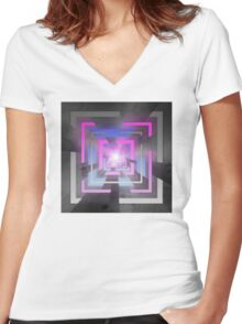 Retro Squares Women's Fitted V-Neck T-Shirt