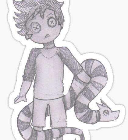 button boy and pillow snake Sticker