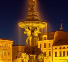 Night view of place in Ceske Budejovice, Czech Republic Sticker