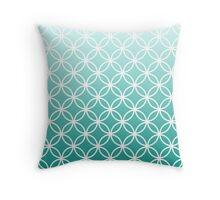 Teal Ombre Lattice Circles Throw Pillow