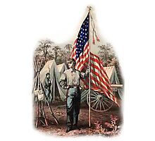 AMERICAN, CIVIL WAR, SOLDIER, UNION, ARMY, STAR SPANGLED, BANNER, USA Photographic Print