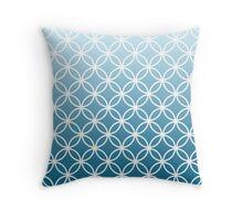 Blue Ombre Lattice Circles Throw Pillow