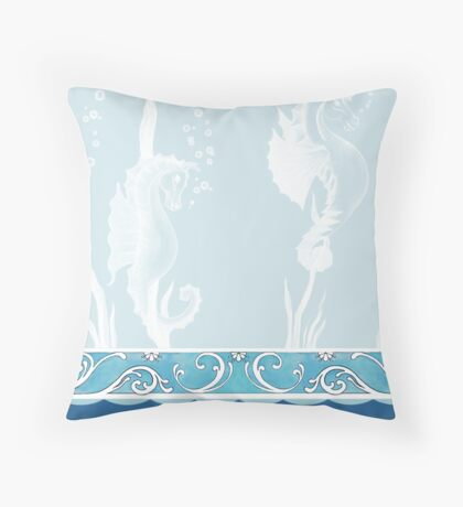 White Water Horses Throw Pillow