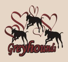 Greyhound Silhouettes Red Hearts by SmilinEyes