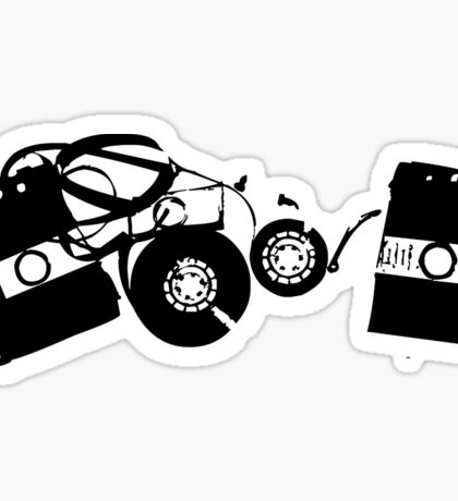 Broken Cassette Tape Mixtape Stencil Sticker Sticker