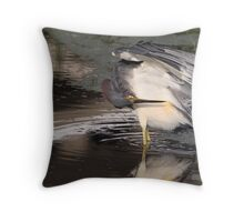 Tri Color Heron Throw Pillow