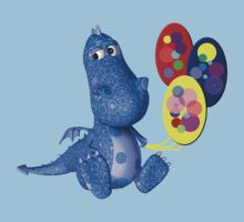 Cute Blue Dragon Colorful Balloons Kids Clothes