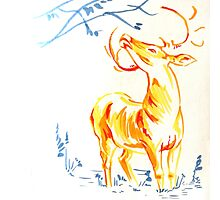 Yellow Deer Photographic Print