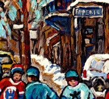 BOYS OF POINTE ST CHARLES STREET HOCKEY ART MONTREAL WINTER SCENES Sticker