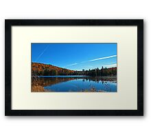 Fall Forest Scene with Orange Leaves - Autumn Lake Reflection under a Blue Sky Framed Print