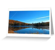 Fall Forest Scene with Orange Leaves - Autumn Lake Reflection under a Blue Sky Greeting Card