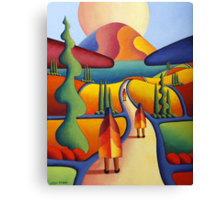 pilgrimage to the sacred mountain with 3 figures Canvas Print