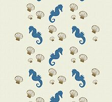 Seahorse and Sea Shells Abstract Art by Christina Rollo