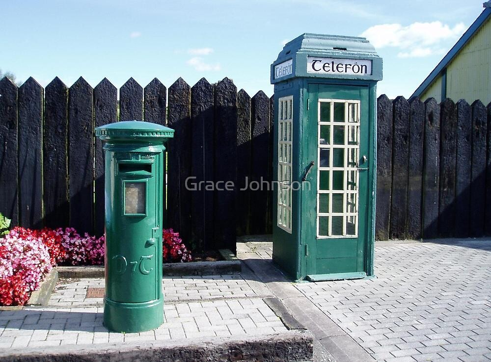 Green letterbox and phone box by Grace Johnson