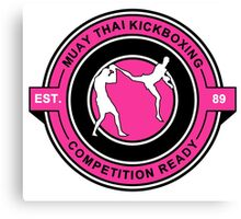 Muay Thai Kickboxing Competition Ready Pink  Canvas Print