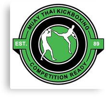 Muay Thai Kickboxing Competition Ready Green  Canvas Print