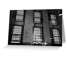Barred Windows, Alcatraz (black and white) Greeting Card