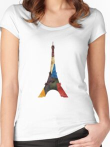 Eiffel Scraps - Eiffel Tower ScrapBook Women's Fitted Scoop T-Shirt