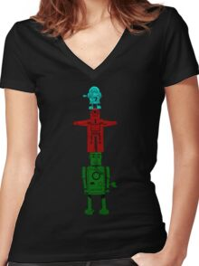 Robot Totem - Color Women's Fitted V-Neck T-Shirt