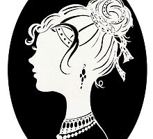 Elegant  Woman Silhouette, Vanity , Beauty black white by IrenesGoodies