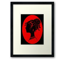 Red Vanity , Fashion Goth Silhouette Beauty Paper Cutout Fashion illustration Lady Framed Print