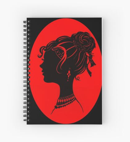 Red Vanity , Fashion Goth Silhouette Beauty Paper Cutout Fashion illustration Lady Spiral Notebook