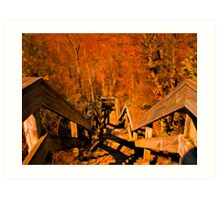 Old Wooden Staircase ~ Trees with Orange Leaves in a Mystical Forest ~ Fall Autumn Scenery Art Print