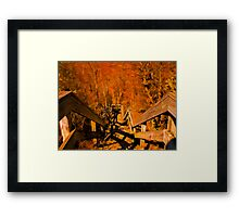 Old Wooden Staircase ~ Trees with Orange Leaves in a Mystical Forest ~ Fall Autumn Scenery Framed Print