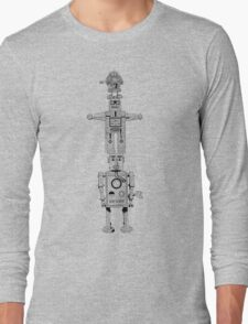 Robot Totem - Line Drawing Long Sleeve T-Shirt