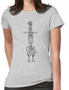 Robot Totem - Line Drawing Womens Fitted T-Shirt