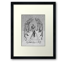 Wooden Railway , Pencil illustration railroad train tracks in woods, Black & White drawing Landscape Nature Surreal Scene Framed Print