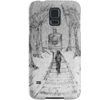 Wooden Railway , Pencil illustration railroad train tracks in woods, Black & White drawing Landscape Nature Surreal Scene Samsung Galaxy Case/Skin