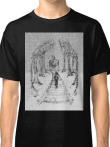Wooden Railway , Pencil illustration railroad train tracks in woods, Black & White drawing Landscape Nature Surreal Scene Classic T-Shirt