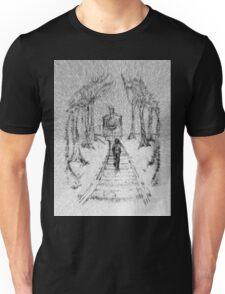 Wooden Railway , Pencil illustration railroad train tracks in woods, Black & White drawing Landscape Nature Surreal Scene Unisex T-Shirt
