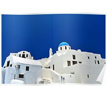 Chapel and white houses in Santorini Island. Poster