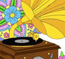 'Funky Music' Retro Gramophone Graphic Illustration Sticker