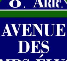 Avenue des Champs-Elysees, Paris Street Sign, France Sticker