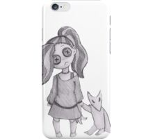 button girl and plushie  iPhone Case/Skin